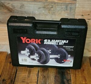 YORK® 40 lb Adjustable Chrome Dumbbell Set Number 140130 Speed Locks and Case
