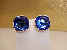 Signed Swarovski Earrings Sapphire Blue Square Crystal Gold Plated Clip On
