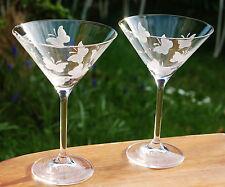 2 Martinigläser Cocktailgläser Schmetterling ECHT HANDGESCHLIFFEN