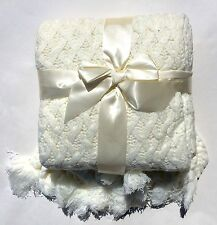 Woven Workz 121-001 Judy Knitted Throw  Blanket (Cream/ Ivory) Acrylic  - NEW