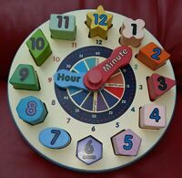Melissa & Doug Wooden Shape Sorting Clock, Learning