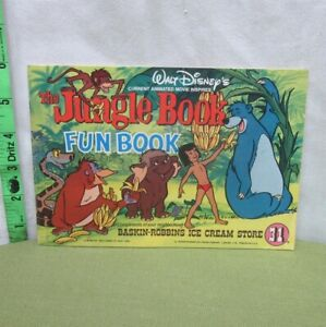 JUNGLE BOOK activity coloring Baskin-Robbins ice cream 1967 beat-up Disney ads