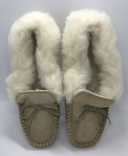 Moccasin Suede Slippers UK 4 EU 37 Hard Sole  Fluffy Wool Cuff Made In England