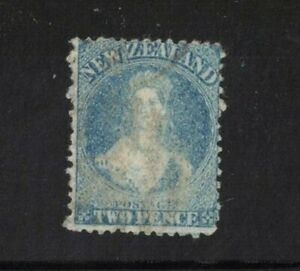 1862 New Zealand 2d blue Queen Victoria perforated Used