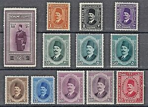 Egypt 1924-1937 King Fuad Selection of 12x Mounted Mint Stamps