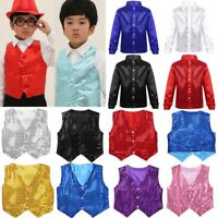 Sequin Sparkle Vest Waistcoat Dance Party Show Costume Boys Choir Jazz Dancewear