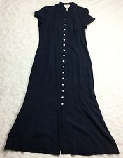 Talbots Womens Navy Blue 100% Silk Shirt Dress Long Maxi Short Sleeve Size 10 CC