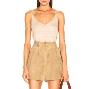 $795 NILI LOTAN Roxana High Waist Suede Leather Shorts, Beige, Size 0 / XS