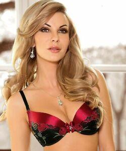 Roza Rufina Soutien gorge push up noir rouge 90D 95D lingerie sexy femme satiné