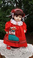 "Pauline Bjonness Jacobs Porcelain Christmas Doll 16"" high"