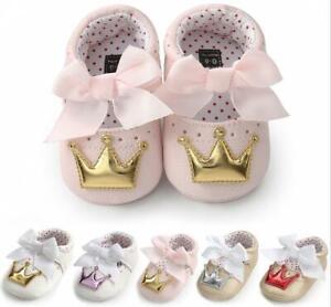Infant Dress Anti-Slip PreWalker Trainer Newborn Baby Girl Crown Crib Shoes 0-18