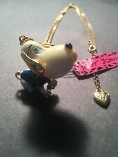 lovely Puppy Movable Parts Necklace-Bj10071 Betsey Johnson crystal & Blue enamel