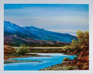 Vintage CARSON RIVER Nevada ART PRINT Landscape POSTER Fly Fishing CARSON CITY