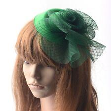 Green Lady Fascinator Hair Clip Pillbox Hat Derby Church Wedding Party Accessory