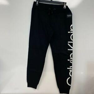 Calvin Klein Womens Black Silver Metallic Logo Drawstring Joggers Size S $59