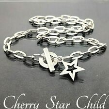 Solid sterling 925 silver fob chain necklace w star tag pendant