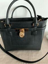 NWT Michael Kors HAMILTON TRAVELER Saffiano Leather MEDIUM Handbag BLACK