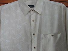 John Ashford Beige , Button Front short sleeve Rayon shirt XL