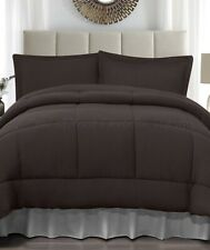 Chocolate Brown Full Queen Size Jersey Comforter & Pillow Sham Bed 3-Pc Set