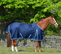 "NEW 600d Medium Turnout Rug Navy 200g Fill  - Baby Blue Trim *Sizes 5'3"" - 7'0"""