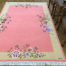 YILONG 5.5'x8' Pink Hand knotted Wool Rug Soft Warm Chinese Art Deco Carpet