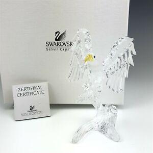 Retired Swarovski Austrian Crystal Bald Eagle Signed Glass Figurine Box COA KSB
