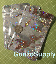 "100PC 3x5"" Silver Hologram Mylar Zip Lock Bags-Merchandise Products Crafts"