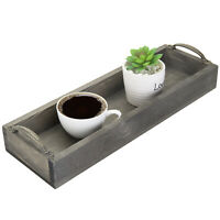 MyGift Vintage Gray Wood Rectangular Party Serving Tray with Side Handles