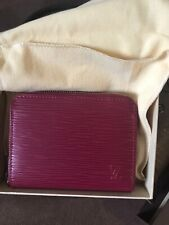 Authentic LOUIS VUITTON Zippy Coin Purse Red Leather With Dust Pouch