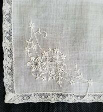 Vintage Lace Handkerchief Bridal Baptismal Floral Flower Embroidered Hanky  A3