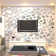 3D Wall Sticker Removable Mirror Cobblestone Shape Wall Decals Modern Home Decor