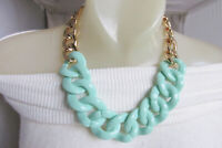 Heavy Curb Chain Choker Necklace Light Green Acrylic Gold Plate Runway Bold