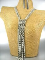 Long Multi Strands Chain Link Fashion Necklace Earrings Women Jewelry