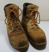 Men's Sears Light Brown Leather Steel Toe Work Boots Heavy Duty Size 11D