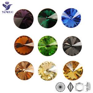 Multicolor Round Fancy Stones Rivoli Rhinestones Sew On Crystal For jewelry DIY