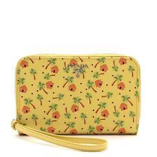 Prada Wristlet Phone Wallet Yellow Saffiano Leather NWT