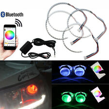 2 Sets Rgb Led Demon Eye Halo Ring Headlight Projector Lens App Remote Control
