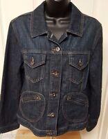 Chico's Platinum Womens Blue Jean Jacket Coat Size 1 M