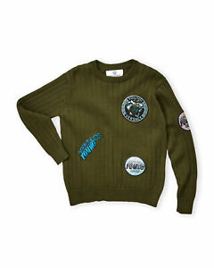 YOUNG VERSACE GREEN MULTI PATCH SWEATER BOYS SIZE 6 BNWT $540