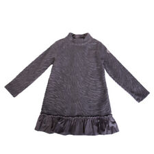 MONCLER Soft Dress Size 12Y Textured Contrast Flare Hem Made in Italy RRP €189
