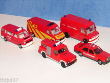 N°2 WIKING ET HERPA LOT DE 5 VEHICULES DE POMPIERS INTERVENTIONS ACCIDENTS HO