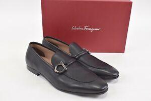 Salvatore Ferragamo NWB America Loafers Size 10 E Solid Black W/ Gancini Logo