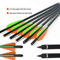"3/6/12/24PCS 22"" Carbon Arrows Half-moon Nocks Orange&Green Vanes For Crossbow"