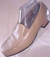 Dr. Scholls Womens 7.5 W Leather Tan Beige Block Heel Twin Gore Pump Loafer Shoe