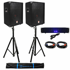 "2 Rockville RSG10 10"" PA Speakers+Technical Pro 1200w DJ Amplifier+Stands+Cables"