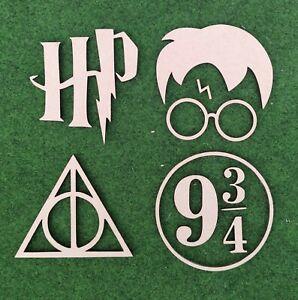Wooden MDF Harry Potter Craft Shapes x4 100mm Embellishments