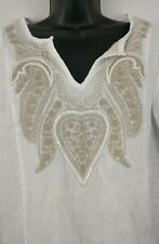 Symple NYC Small White Linen Boho Beach Casual Career Vacation V Neck Top