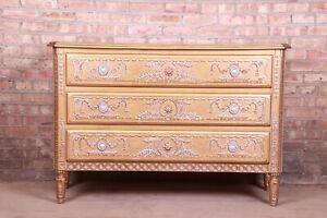 French Regency Louis XVI Gold Gilt Three-Drawer Dresser or Commode