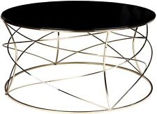 Sophie Black glass top coffee table stainless steel gold base round coffee table