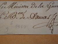 GENERAL BARON DAMAS (1785-1862) AUTOGRAPHE MINISTRE GUERRE RESTAURATION 1823
